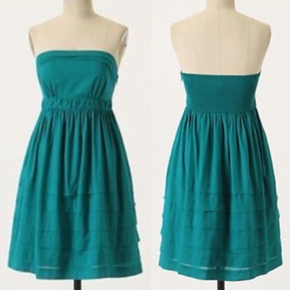 9432131530c2 Anthropologie Dresses | Anthro Maeve Emerald Green Strapless Dress4 ...